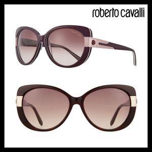 Roberto Cavalli Plastic Round Sunglasses Havana